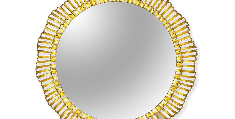 majestic mirror with an intricately woven gold leaf frame sculpted like the rays of the sun and fitted with backlighting