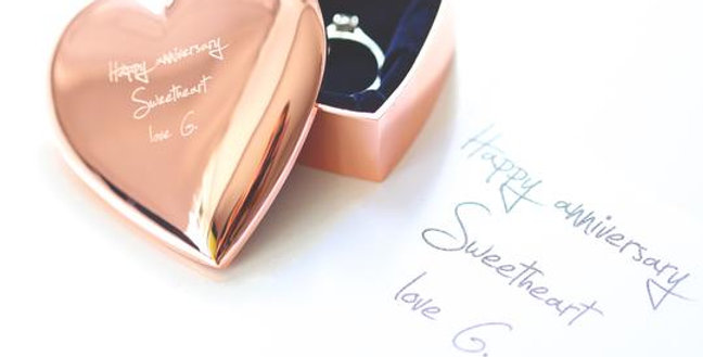 Rose Gold Heart Keepsake With Own Handwriting