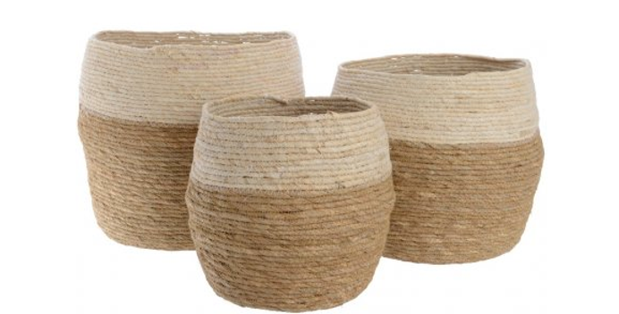 Set of 3 tall woven straw baskets with natural two tone colour