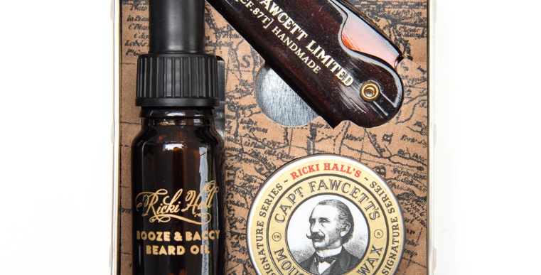 Captain Fawcett Ricki Hall Booze & Baccy Grooming Survival Kit includes Beard Oil, Moustache Wax and a Moustache comb