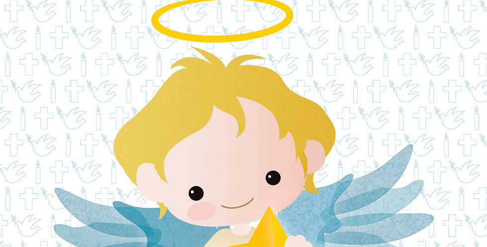 Baptism Card with cute cartoon angel holding a star with words saying On Your Baptism