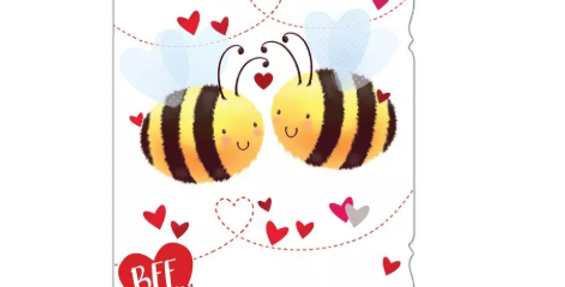 valentines day card with two cartoon bees and words to my lovely husband bee my valentine