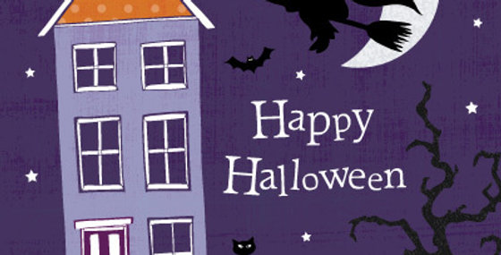 Halloween card with house at night, pumpkins, bat and flying witch in black and wording happy halloween