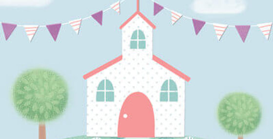 Christening card with cute illustrated church scene with bunting and wording Happy Christening