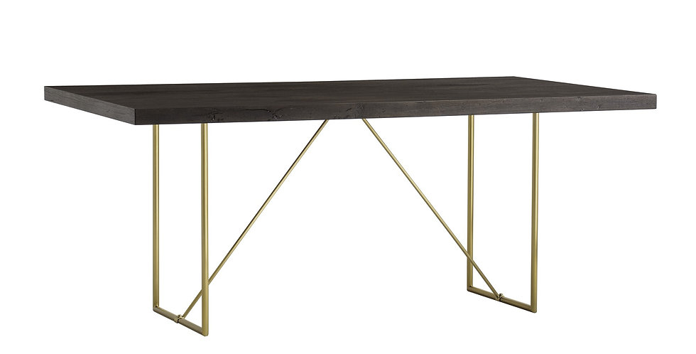 dining table with a thick oak espresso stained top, supported by a slim gold-effect stainless steel base