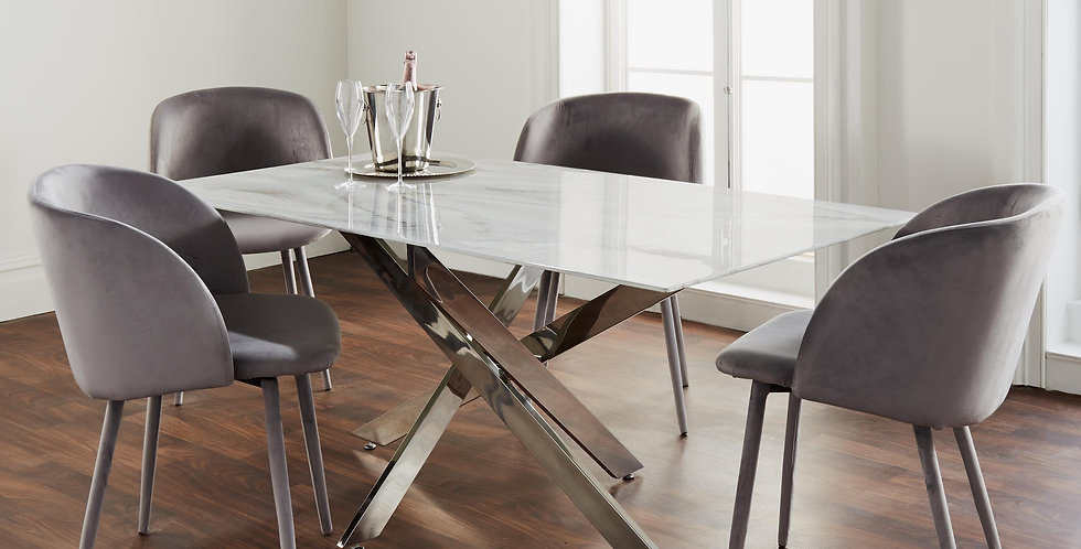 rectangular dining table with marble top and silver crossed legs