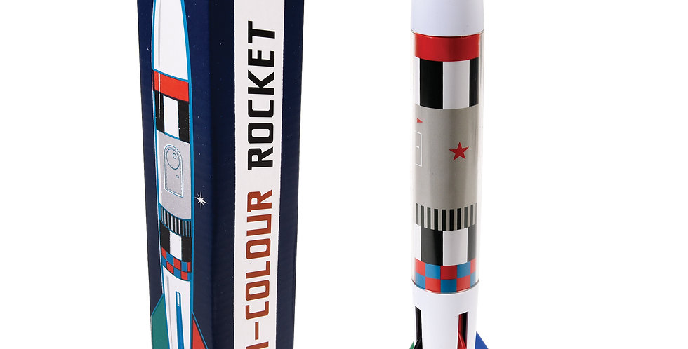 Giant four-colour Giant Space Age Rocket Pen includes four colours - red, blue, green and black