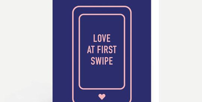 purply blue background and outline of phone with words love at first swipe