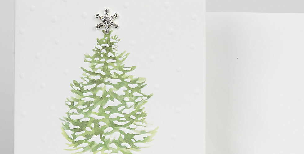 beautiful christmas card with green christmas tree merry christmas wording and diamante star