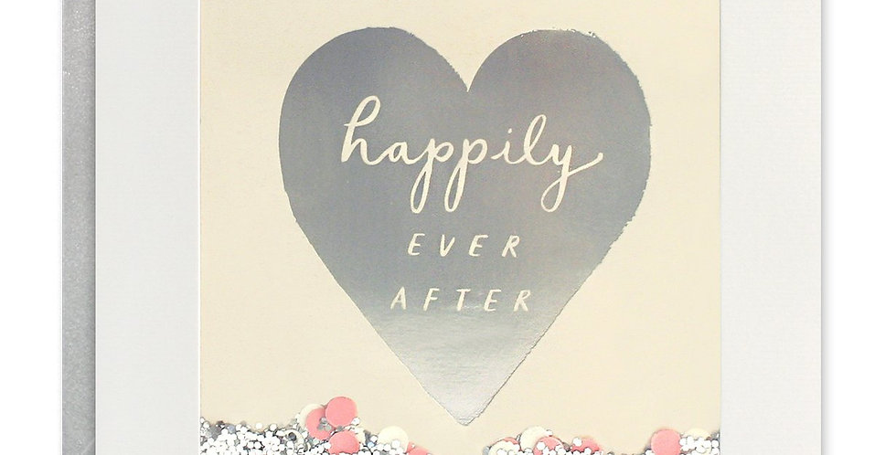 wedding day shakies card cream with silver heart and wording happily ever after and pastel confetti