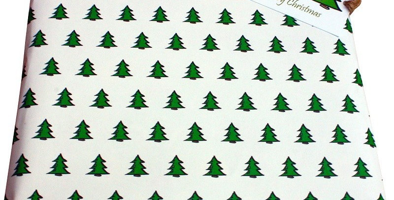Christmas gift wrap with white background and repeat green christmas tree pattern. Matching gift tag available.
