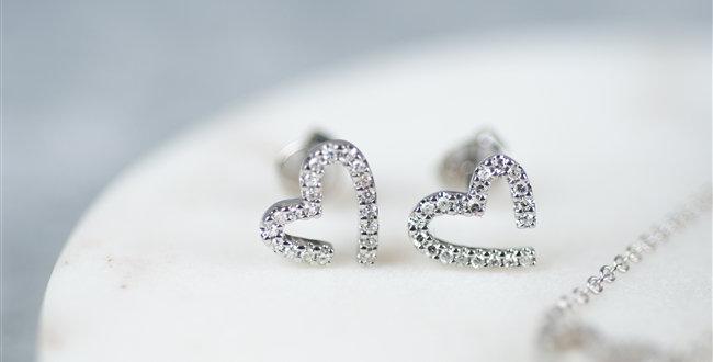 White Gold Diamond Heart Earrings