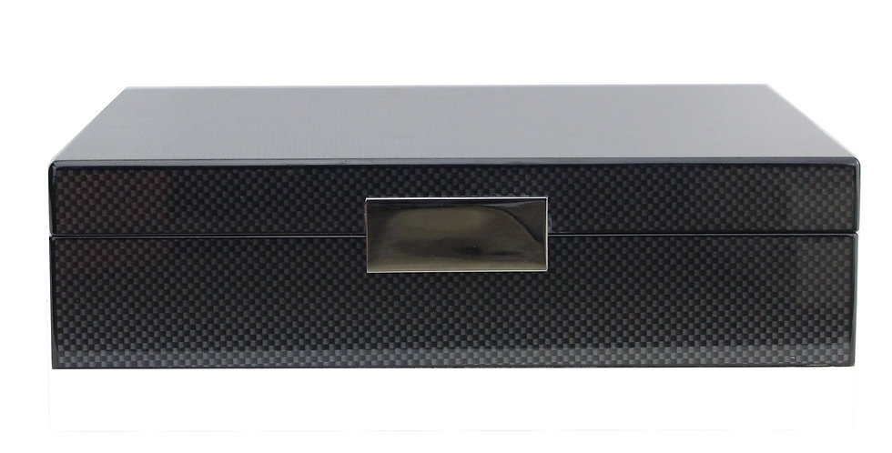 Lacquered Carbon Fibre Box features a silver plated clasp and matching hinges. Lined in cream suede with a one-sided hinge.