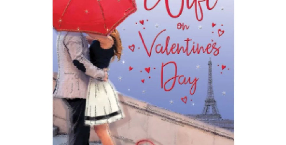 valentine's day card with couple under an umbrella in paris at night with words to my gorgeous wife on valentines day