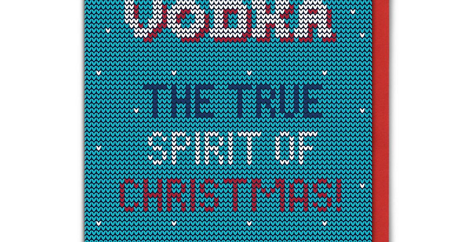Turquoise and white knitted style card with white, blue and red words - Vodka the true spirit of Christmas