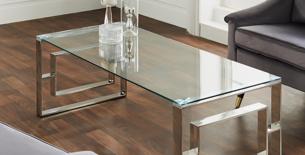 silver plated art deco style coffee table with glass top