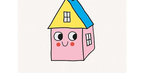 mini card with cartoon home with a face and wording home sweet home