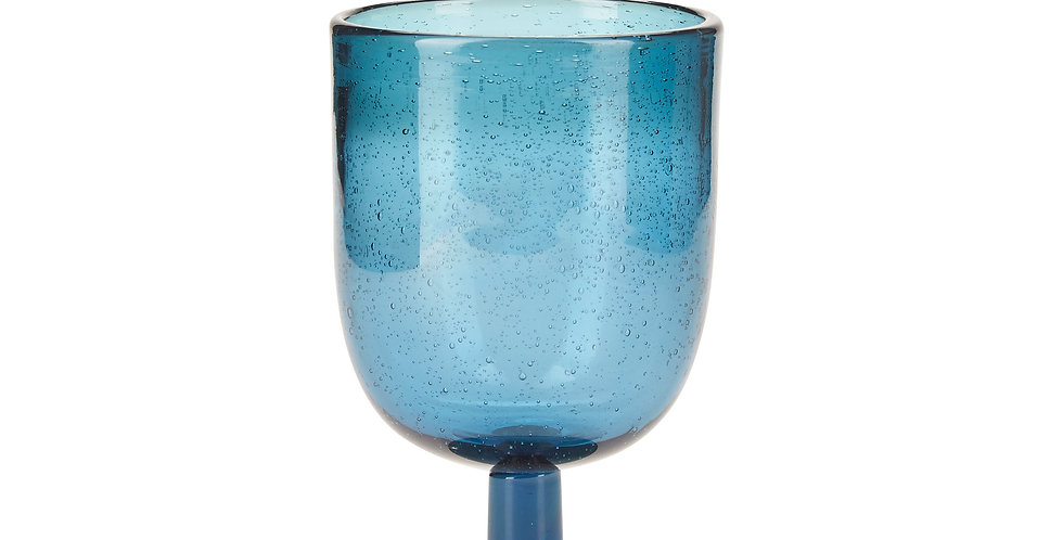 Blue handmade moroccan recycled wine glass with bubble effect