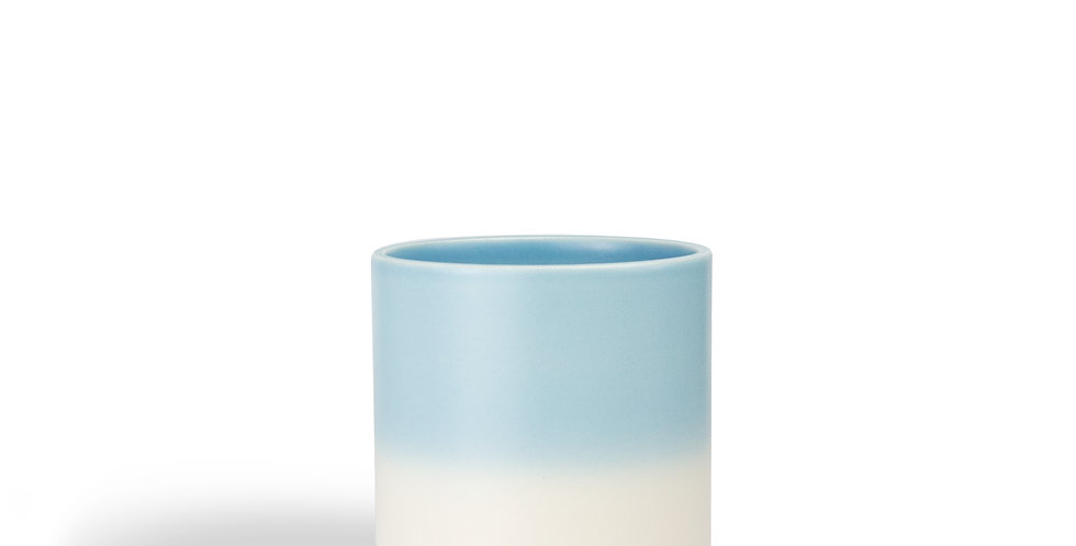 Pretty, stackable cuo which graduates from light blue at top to a cream for the bottom half