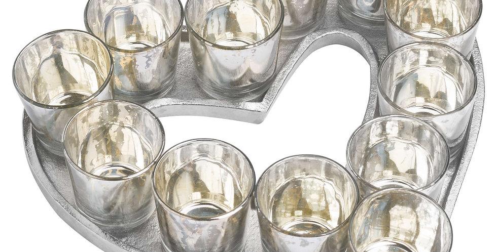 Cast Aluminium Heart Votive Tray With Mercury Glass