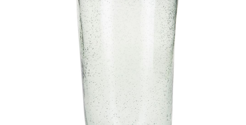 Clear mouthblown Moroccan recycled glass jug with bubble effect. No handle