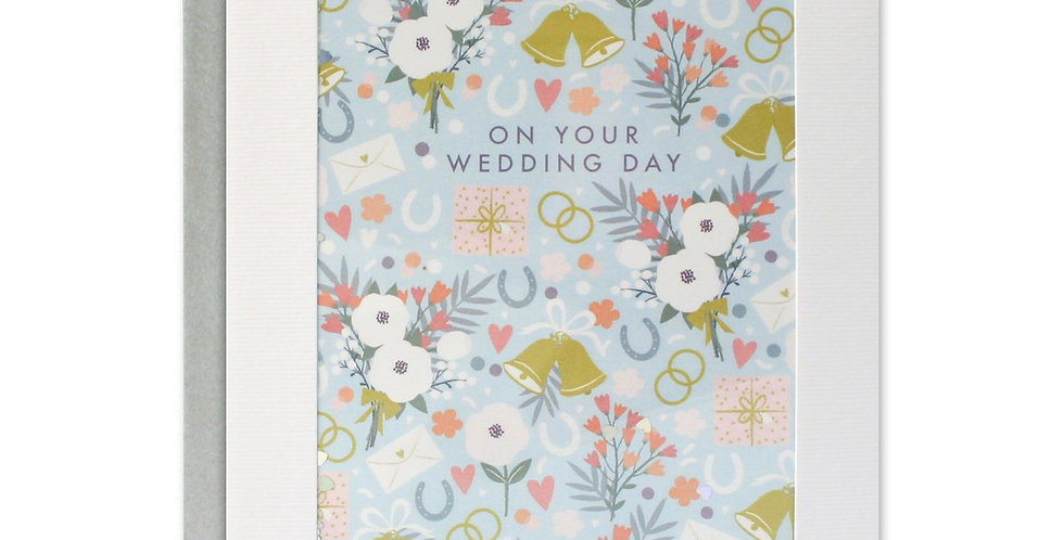 Wedding Pattern Rectangular Paper Shakies Card, pale blue background with flowers and horse shoes and on your wedding day