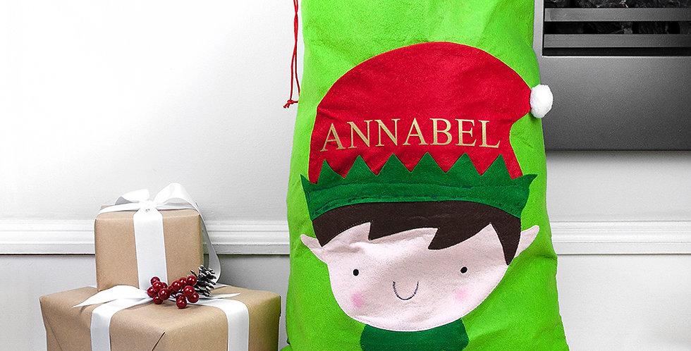 personalised elf santa sack