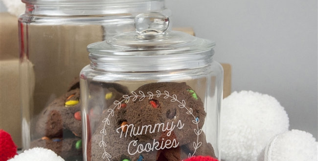 glass mummy's cookies jar with lids