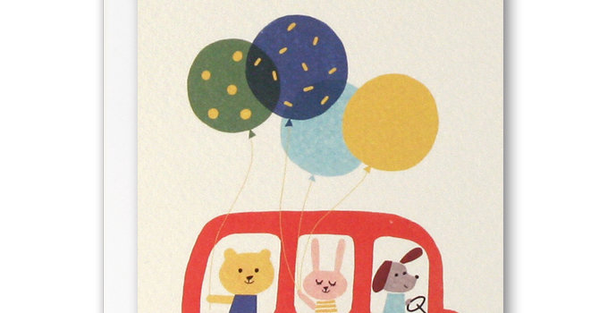 Children's thank you notelets featuring red bus, animals and balloons and thank you words