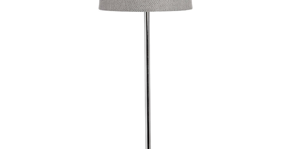 tall slender stemmed lamp with grey herringbone fabric lampshade