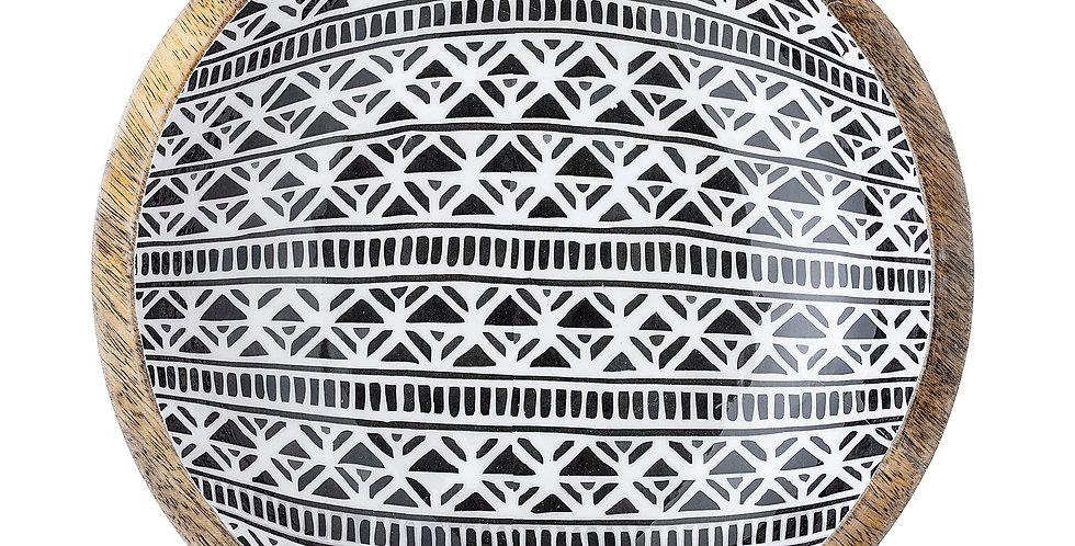 stunning mango wood serving bowl. Featuring a beautiful black & white pattern