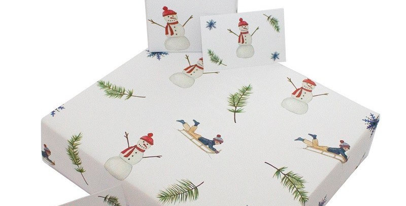 White Christmas wrapping paper with cute snowman bluw star and evergreen branch pattern. Matching gift tag available