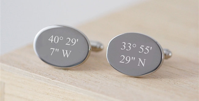 Personalised Coordinate Cufflinks