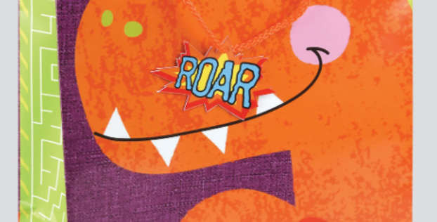 Cute kids gift bag featuring a cartoon orange dinosaur and message have a roarsome day