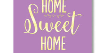 Mauve new home card with home sweet home wording