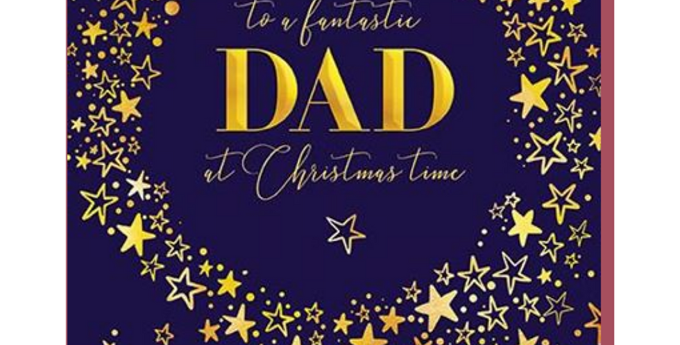 Dark blue background with flurry of gold stars with wording to a fantastic Dad at Christmas time