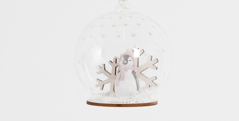 Snow Day Penguin Snowflake Dome Bauble