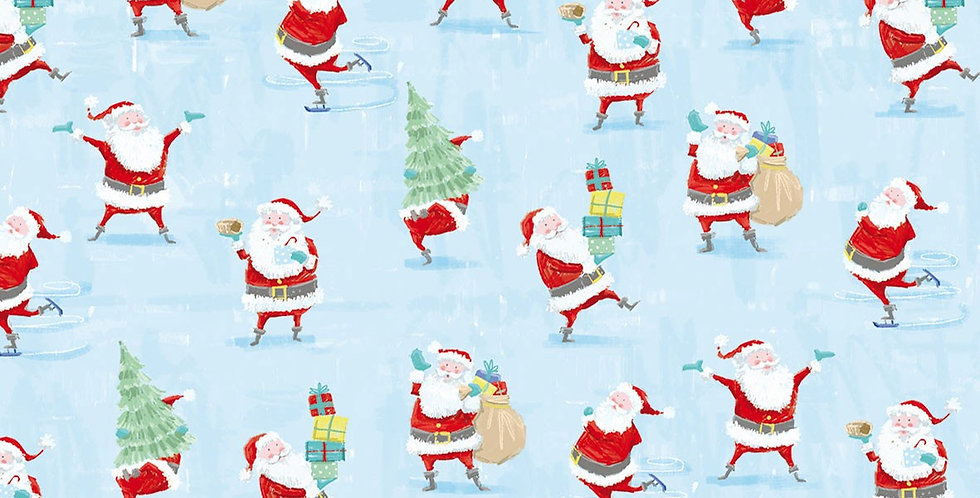 Christmas wrapping paper Santa Snow fun - pale blue background with illustrated santas carrying sacks, trees and gifts