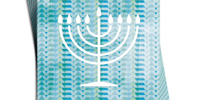 Chanukah 6 pack of cards which blue patterened background and white menorah with happy chanukah words