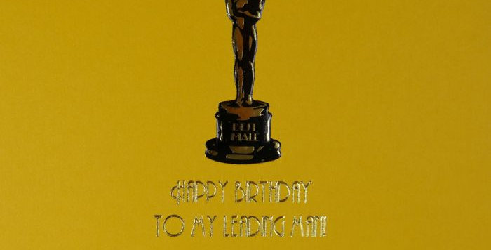 Birthday card for male relative or partner, gold with oscar statuette with Happy Birthday To My leading man