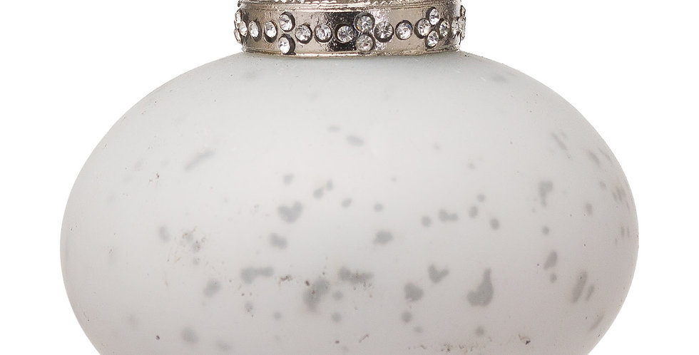 bulbous white bauble with antiqued effect