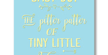 pale blue new baby card with gold writing saying baby boy the pitter patter of tiny little feet
