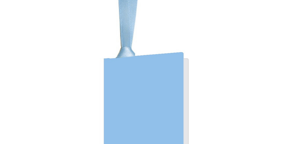 pale blue gift tag with matching ribbon