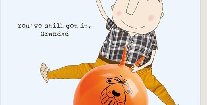 Funny birthday card with grandad on a spacehopper holding a drink saying You've still got it grandad