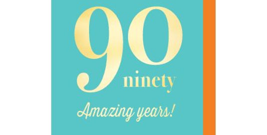 90th birthday card, tuquoise background with gold lettering saying 90 amazing years!