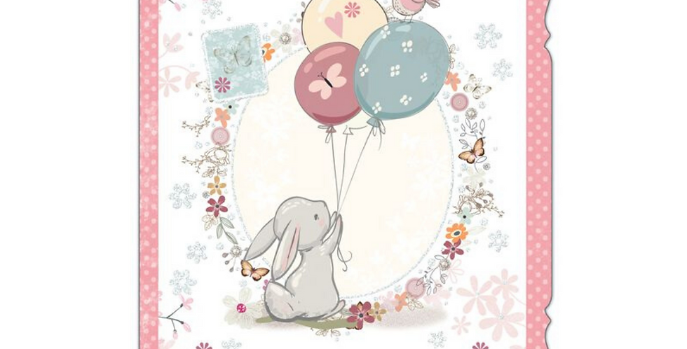 cute mother's day card with cute rabbit holding a bunch of balloons