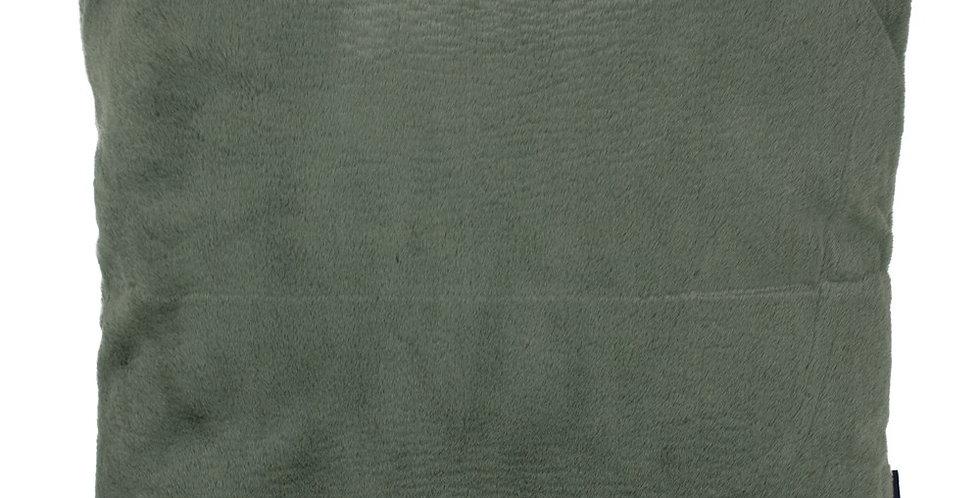 Plain square olive green cushion