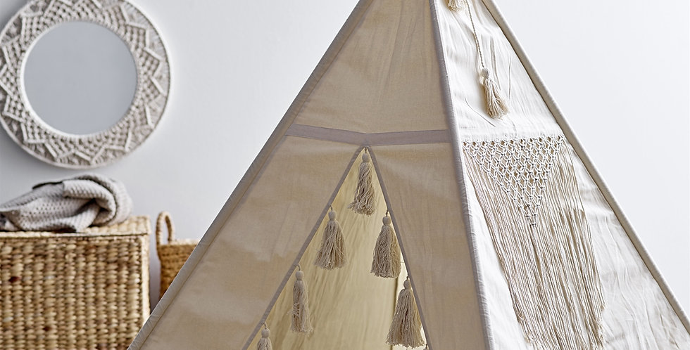 This Tipi has decorative tassel details to the front opening and four flags to the top.