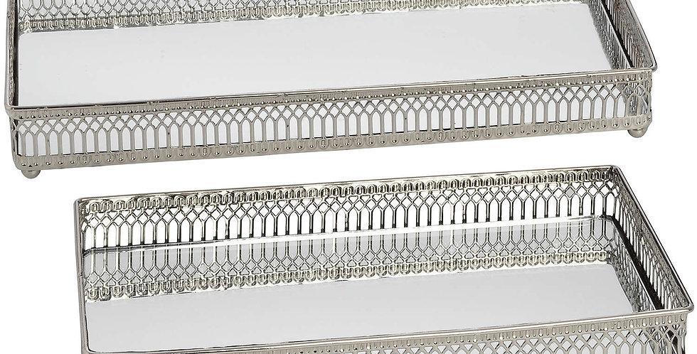 Set of 2 Rectangular Nickel Plated Trays
