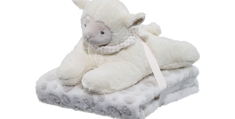 Supersoft lamb plush toy and blanket gift set of newborns and toddlers